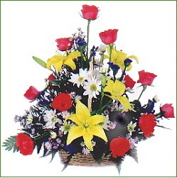 ( FA0023 )  Rose - Lily.  Red Roses and Yellow Tiger Lily Arrangement in a Basket