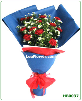 ( HB0037 )  My Queen of Heart.  12 Stalks of Red Carnation with White Peacock for Hand Bouquet.