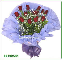 SSHB0054   ( Roses Bouquet )   ( 12 Stalks of red roses with statice wrapped in elegant wrapper - Hand Bouquet. ) Flower Delivery Service to Sabah and Sarawak Only )