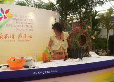 Ms. Kathy AIFD -  In China for the 2nd  China ( sanya ) International Orchid Show